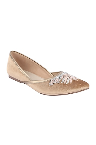 Rose Gold Sequins Embroidered Mojdi by Veruschka By Payal Kothari