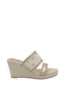 Cream Slip-On Wedges by Veruschka By Payal Kothari-POPULAR PRODUCTS AT STORE
