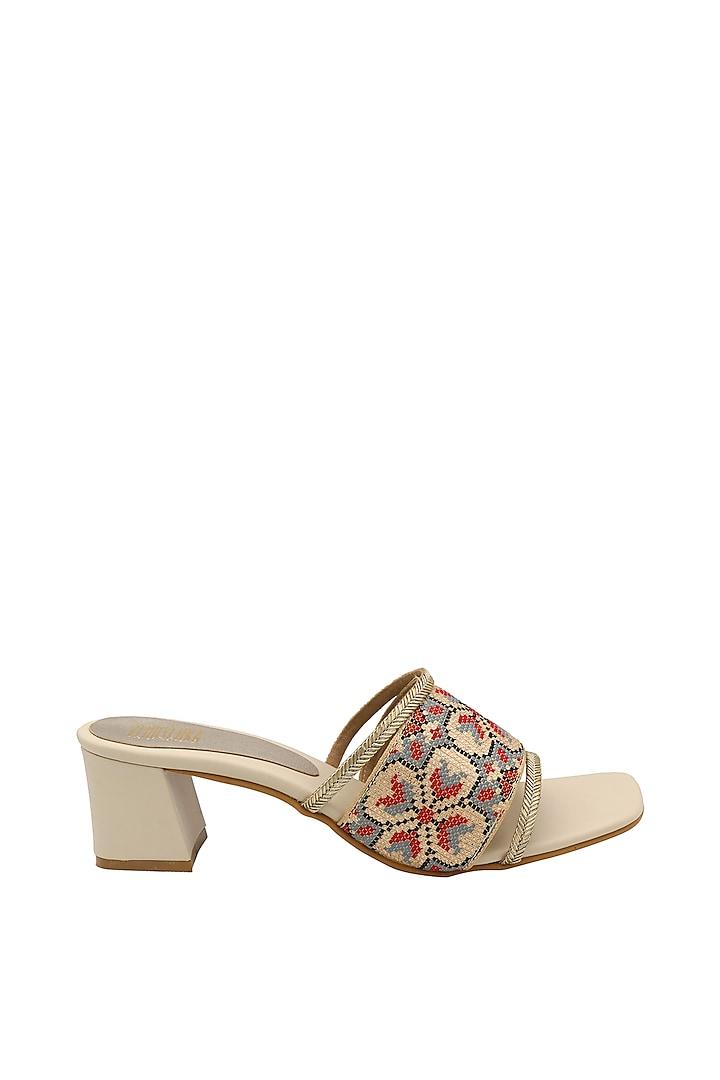 Cream Slip-On Block Heels by Veruschka By Payal Kothari