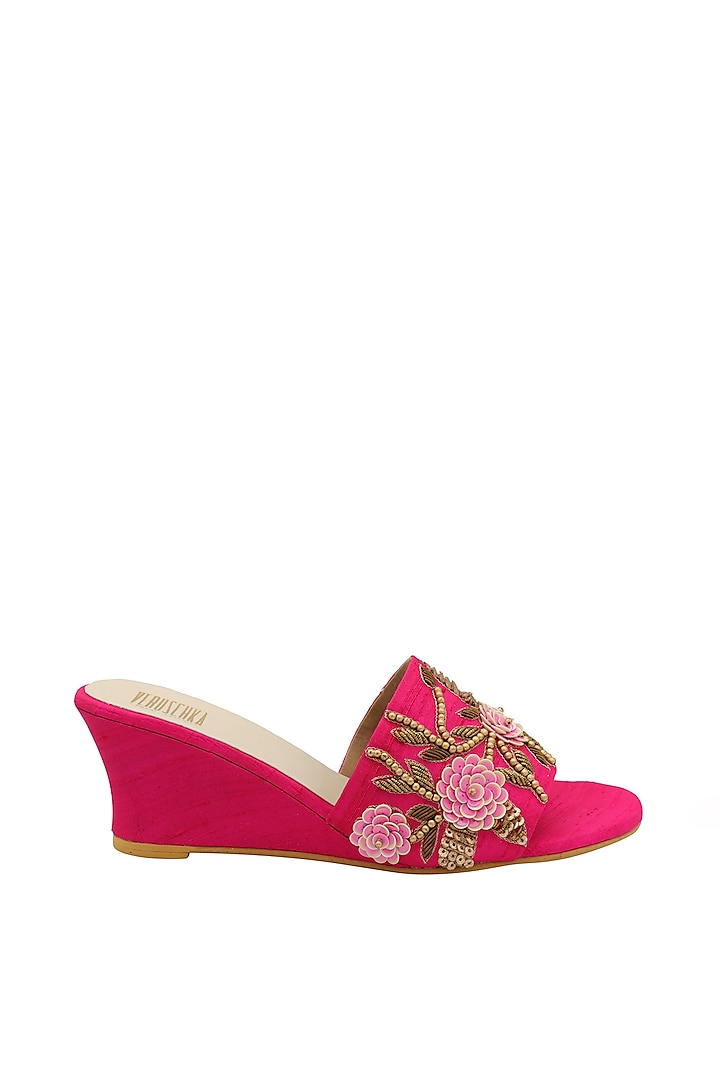 Hot Pink Embroidered Slip-On Wedges by Veruschka By Payal Kothari