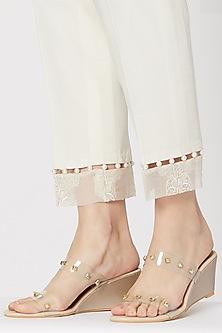 Cream Studded Slip-On Wedges by Veruschka By Payal Kothari