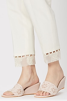 Cream Embroidered Slip-on Wedges by Veruschka By Payal Kothari