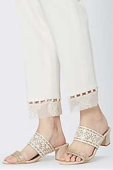 Cream & Gold Embroidered Slip-on Block Heels by Veruschka By Payal Kothari