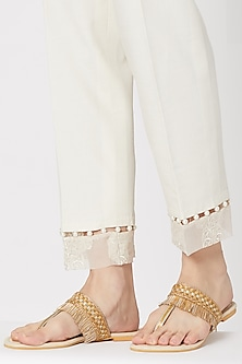 Cream & Gold Embroidered Flats by Veruschka By Payal Kothari