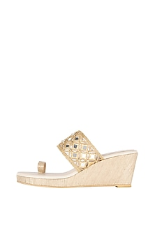 Cream & Gold Embroidered Kolhapuri Wedges by Veruschka By Payal Kothari