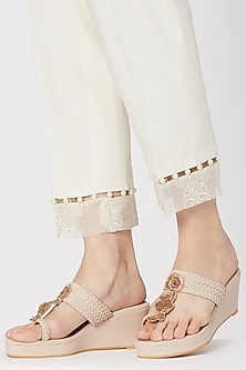 Cream & Gold Zardosi Embroidered Kolhapuri Wedges by Veruschka By Payal Kothari