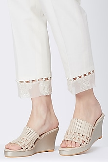 Cream & Gold Embroidered Slip-on Wedges by Veruschka By Payal Kothari