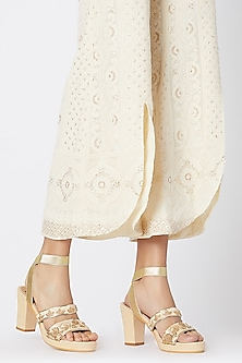 Cream & Gold Embroidered Block Heels by Veruschka By Payal Kothari