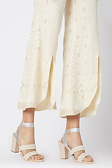 Cream & Silver Embroidered Block Heels by Veruschka By Payal Kothari