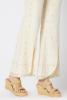 Cream & Gold Embroidered Wedges by Veruschka By Payal Kothari
