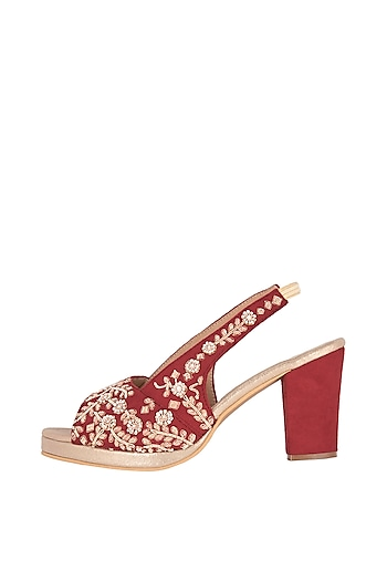 Red & Gold Embroidered Block Heels by Veruschka By Payal Kothari