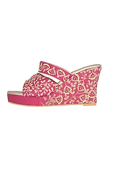 Pink & Gold Embroidered Wedges by Veruschka By Payal Kothari