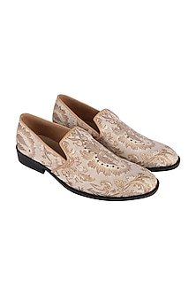 Cream & Gold Brocade Loafers by Veruschka By Payal Kothari Men