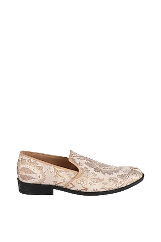 Cream & Gold Brocade Loafers by Veruschka By Payal Kothari Men