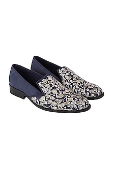 Blue & Gold Embroidered Loafers by Veruschka By Payal Kothari Men