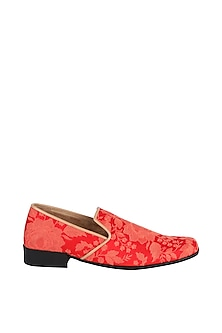 Red Thread Embroidered Loafers by Veruschka By Payal Kothari Men