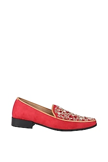 Red & Gold Embroidered Loafers by Veruschka By Payal Kothari Men