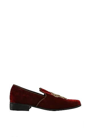 Maroon Zardosi Embroidered Loafers by Veruschka By Payal Kothari Men