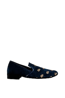 Navy Blue Embroidered Loafers by Veruschka By Payal Kothari Men