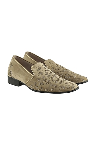 Gold Hand Embroidered Loafers by Veruschka By Payal Kothari Men