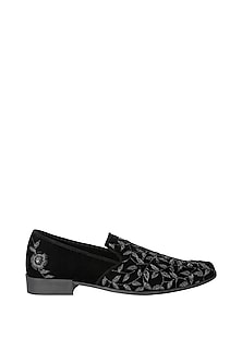 Black Hand Embroidered Loafers by Veruschka By Payal Kothari Men