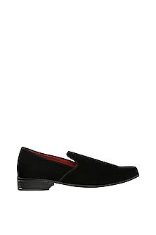 Black & Red Velvet Loafers by Veruschka By Payal Kothari Men