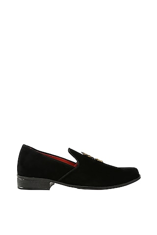 Black & Red Embroidered Loafers by Veruschka By Payal Kothari Men