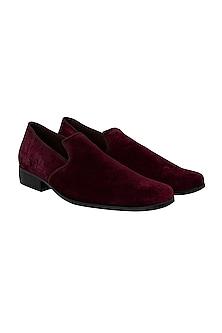 Maroon Velvet & Suede Loafers by Veruschka By Payal Kothari Men