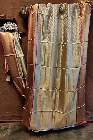 Silver Handwoven Silk Saree by Vaishali S