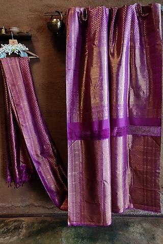 Magenta Handwoven Silk Saree by Vaishali S