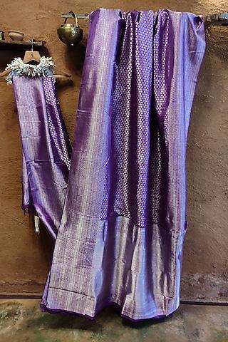 Purple Handwoven Silk Saree by Vaishali S