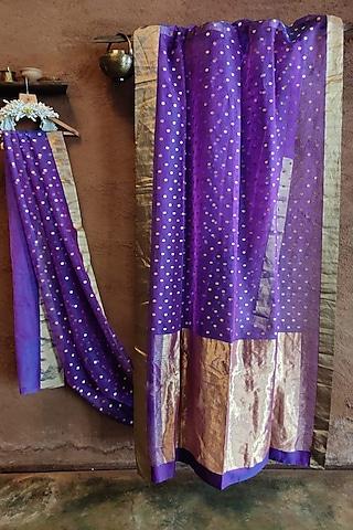Violet Handwoven Silk Saree by Vaishali S