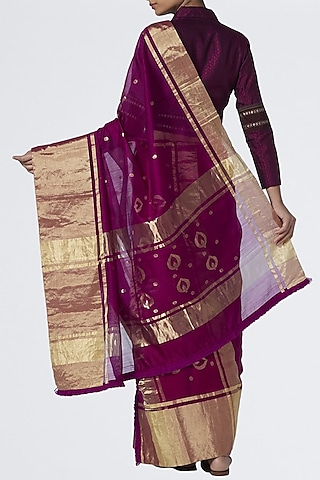 Magenta Silk Saree by Vaishali S