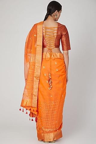 Orange Handwoven Silk Saree by Vaishali S