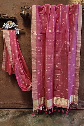 Powder Pink Handwoven Silk Saree by Vaishali S