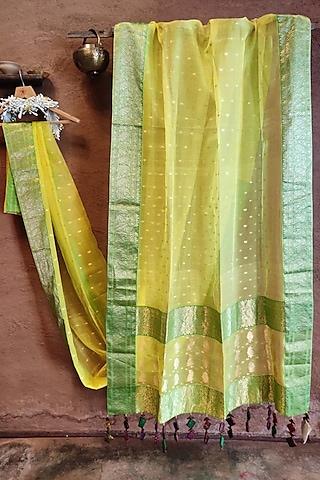 Yellow Handwoven Silk Saree by Vaishali S