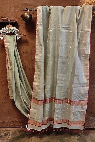 Powder Blue Handwoven Silk Saree by Vaishali S