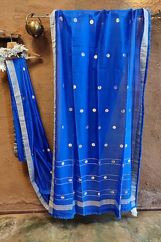 Blue Handwoven Silk Saree by Vaishali S