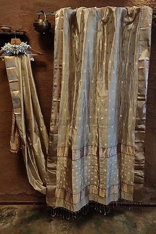 Grey Handwoven Silk Saree by Vaishali S