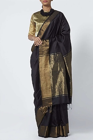 Black Handwoven Silk Saree by Vaishali S