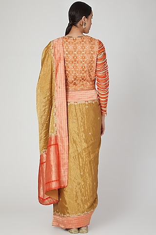 Gold Embroidered Brocade Saree by Vaishali S