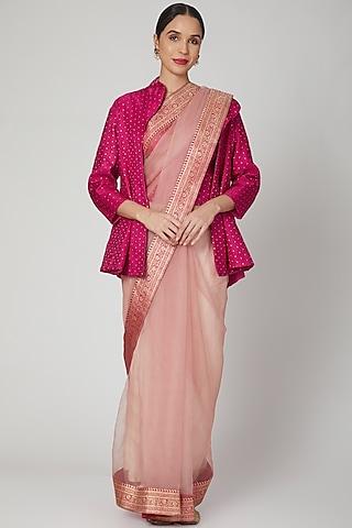 Blush Pink Handwoven Saree by Vaishali S