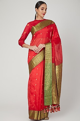 Red & Green Embroidered Saree by Vaishali S