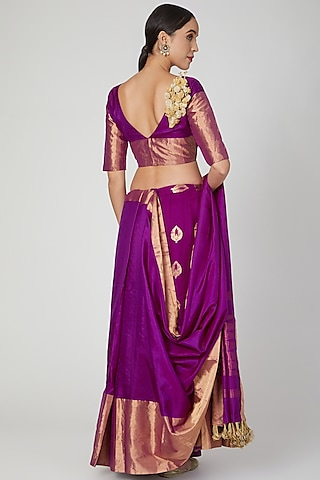 Purple Silk Saree Lehenga Set by Vaishali S