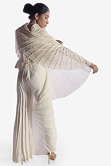 White Jacket With Constructed Sleeve by Vaishali S