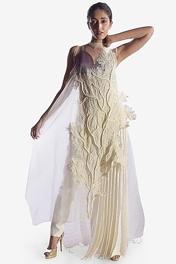 White Coral Embroidered Dress by Vaishali S