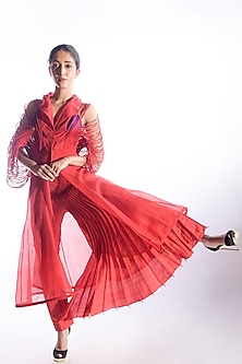 Red Dress With Corded Sleeves by Vaishali S