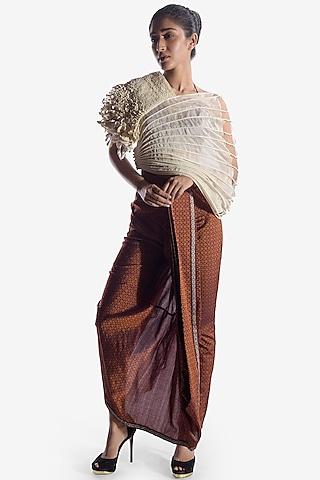Rust Pleated Dhoti Pants by Vaishali S