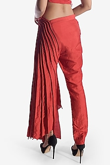 Red Corded Chanderi Silk Pants by Vaishali S