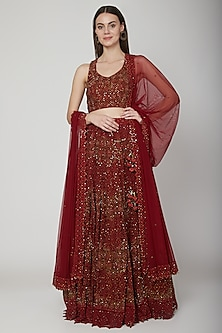 Maroon Chikankari Embroidered Lehenga Set by Vandana Sethi